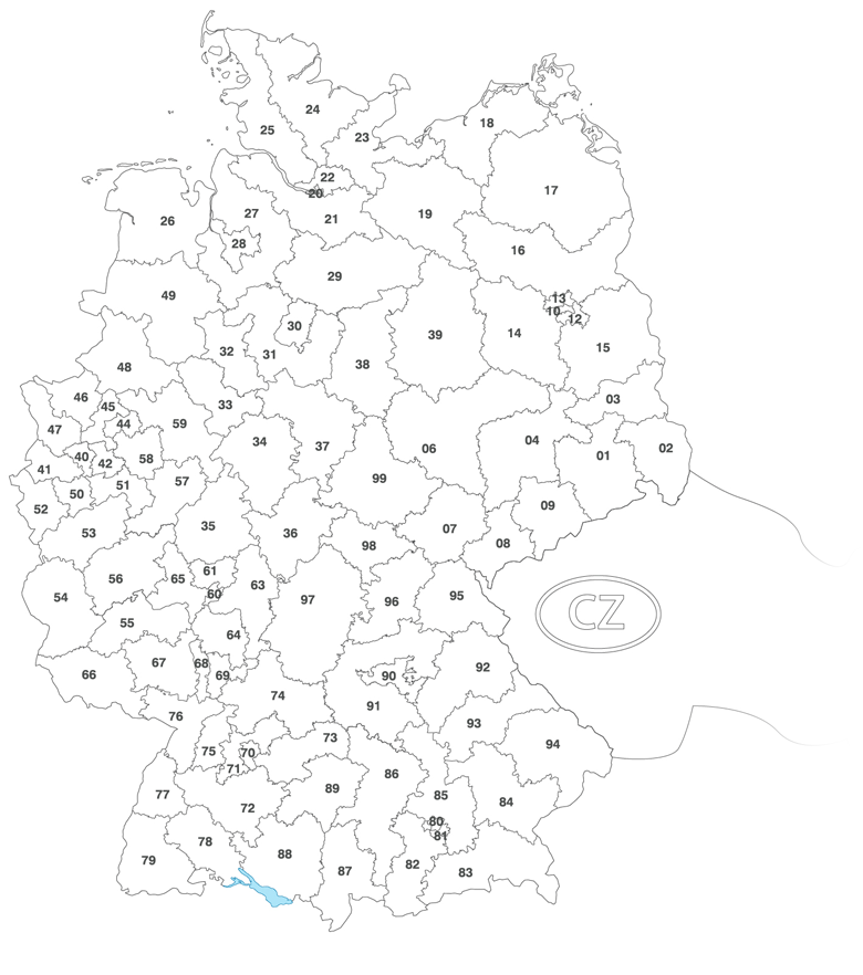 Gebiet 34 karte plz Postleitzahl